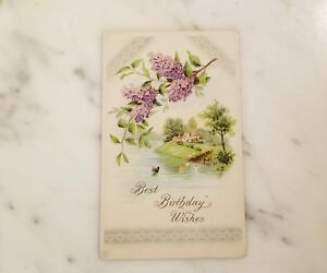 Image Is Loading Antique 034 Best Birthday Wishes Postcard Featuring