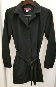 Merona-Womens-Sz-Small-Black-Long-Belted-Button-Up-Trench-Coat-Rain-Jacket-FLAW