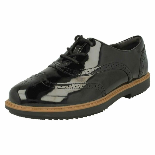 Ladies Clarks Raisie Hilde Leather Or Synthetic Patent Lace Up Brogue Shoes