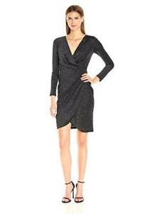 f23fa6b9 Image is loading Catherine-Malandrino-Wrap-Sheath-Dress-Shimmering-Black-6