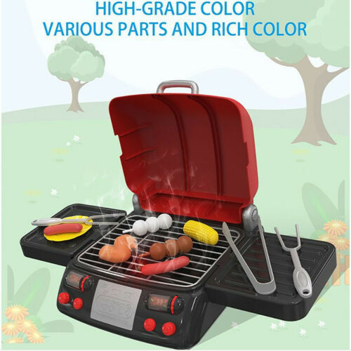 Kid BBQ Grill Pretend Play Toy Kitchen Barbecue Food Cooking Set Light /& Smoke
