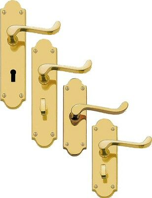 LEVER ON SHAPED BACKPLATE  SCROLL LEVER MORTICE  LATCH LOCK DOOR HANDLES