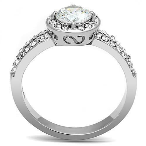 Stainless Steel Solitaire Round Halo CZ /& Accents Wedding Engagement  Ring