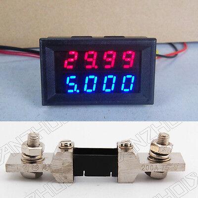 0-100V 200A DC Digital LED Voltmeter Ammeter Amp Volt Meter + 200A shunt 12v 24v