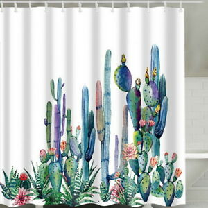 Green-Shower-Curtain-Waterproof-cactus-Pattern-12-Hooks-Multichoice-180x180CM