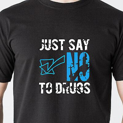 JUST SAY NO drugs drinking jail gang black teen dumb vintage retro Funny T-Shirt