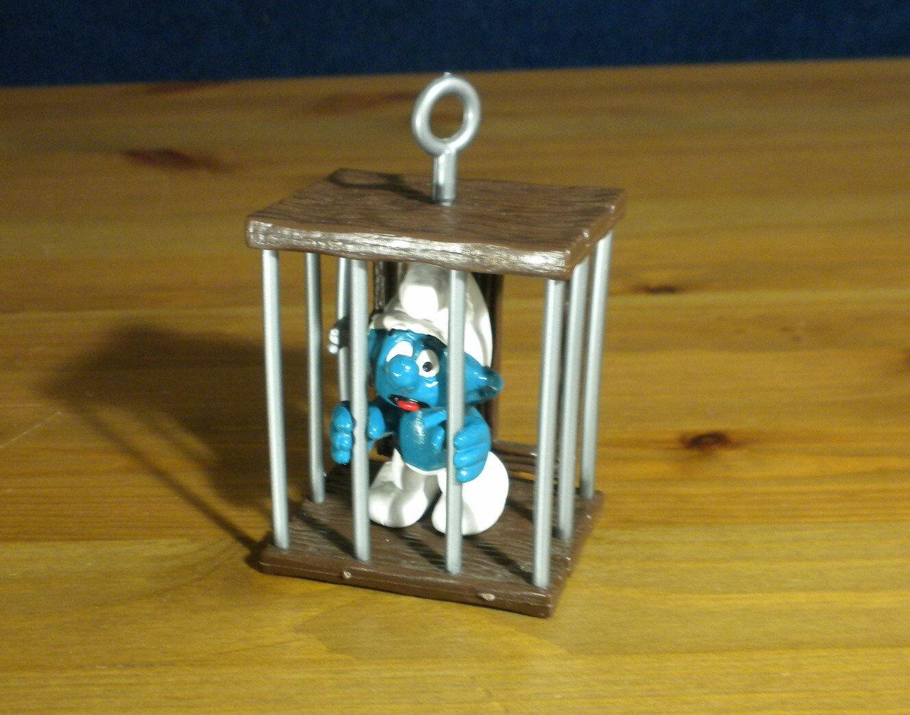 Smurfs 40212 Cage Smurf Prison Jail Vintage Figure PVC Schleich 1980 Figurine HK