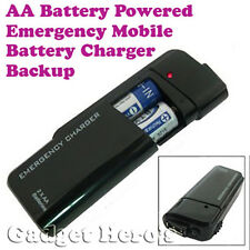 Emergency AA Battery Charger Black for Any Device With Chargeable USB Port.