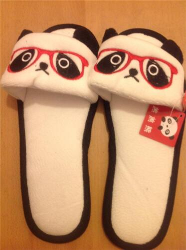 Soft Plush Rave Shoes China Cuite Panda with glasses Furry Slippers Lady Style