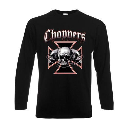 langarm Funshirt Biker Rocker USA S-6XL Skull Longsleeve Choppers ABC00231