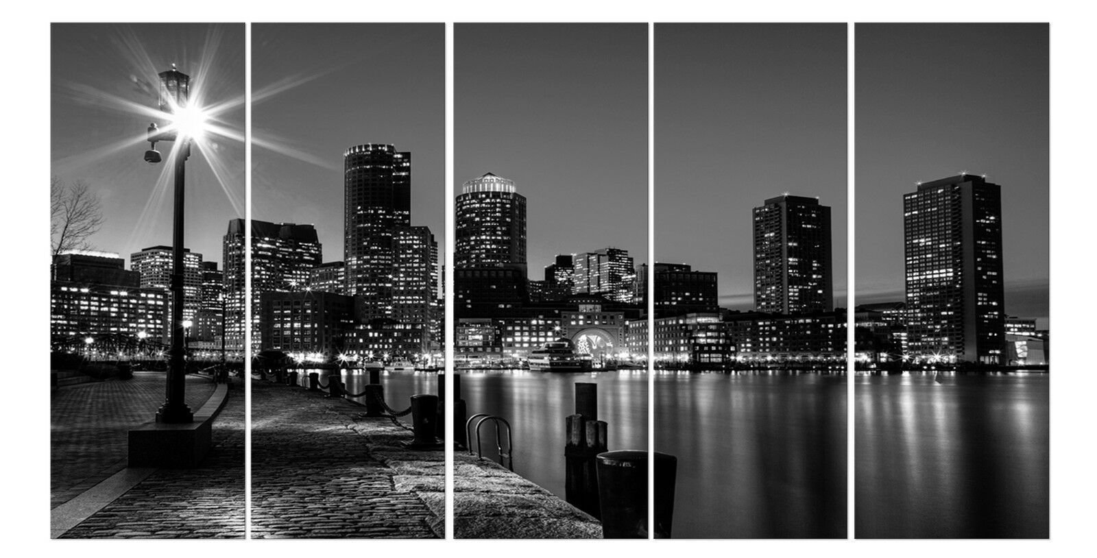 BOSTON Skyline framed mounted fiberboard art better than stretched canvas print