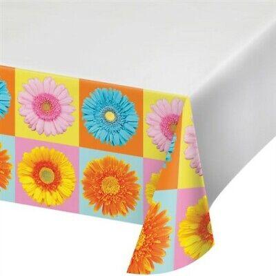 Petal Pop Daisy Plastic Banquet Tablecloth Spring Flowers Floral Party Decor