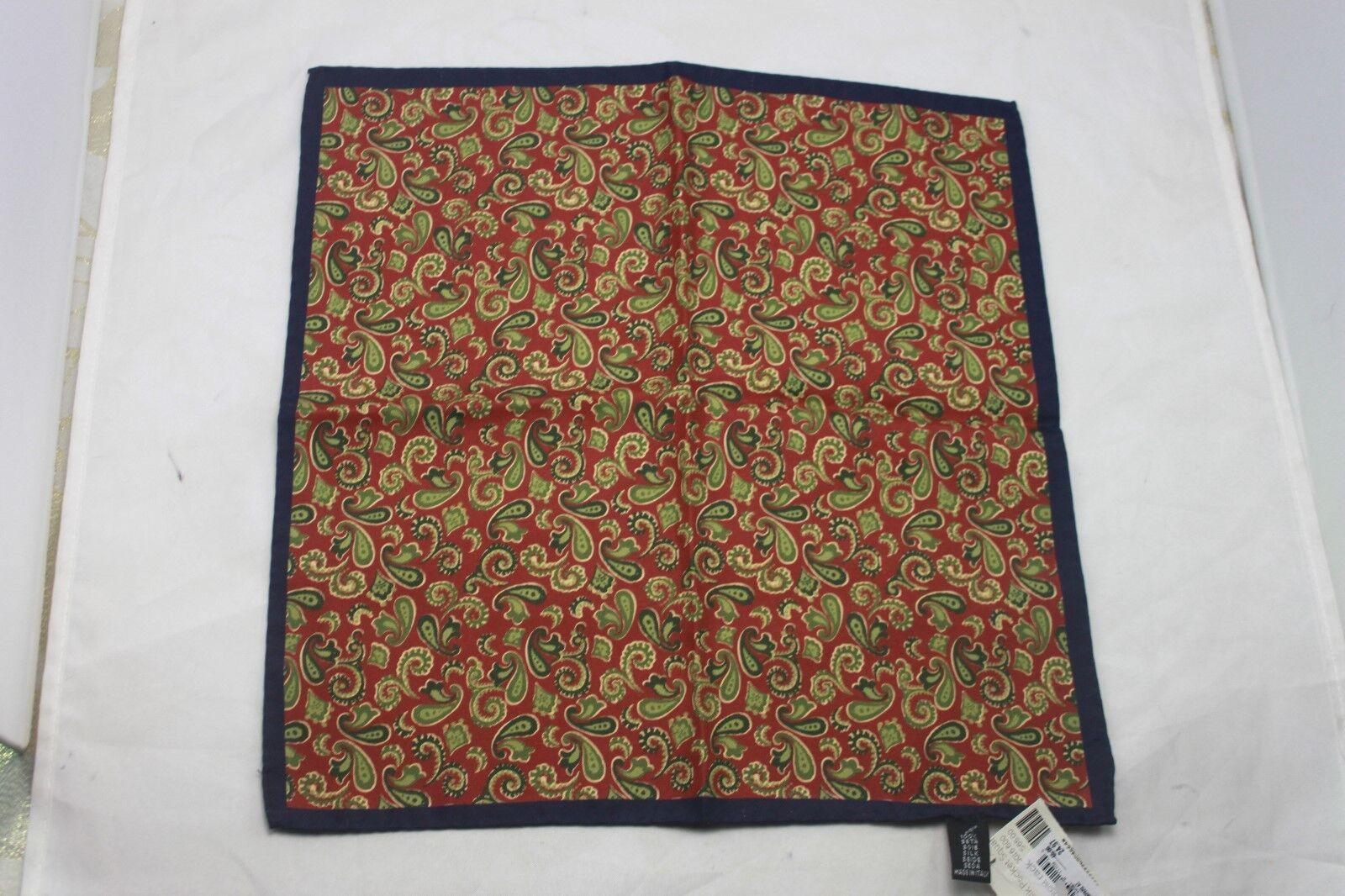 Gladson Paisley Flourish Silk Pocket Square Clay Green