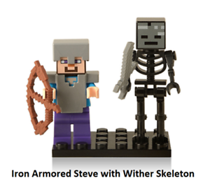 IRON ARMORED STEVE with Wither Skeleton Minifigure Rare Lego MOC Minecraft Toy