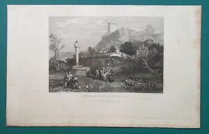 FRANCE-Chateau-Castle-amp-Village-Polignac-1833-Antique-Print-Engraving