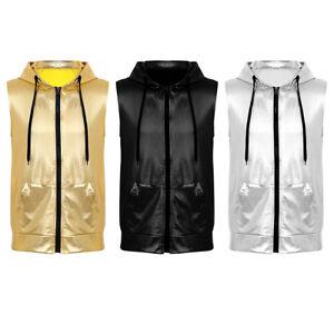 Mens-Hipster-Sleeveless-Hooded-T-shirt-Zippered-Hip-Hop-Shirts-Vest-Top-Blouse