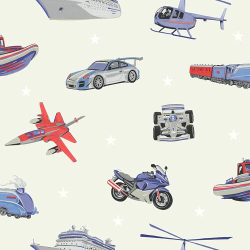 ARTHOUSE 696204 PLANES CARS TRAINS NEW ZOOM AWAY VEHICLES WALLPAPER GREY