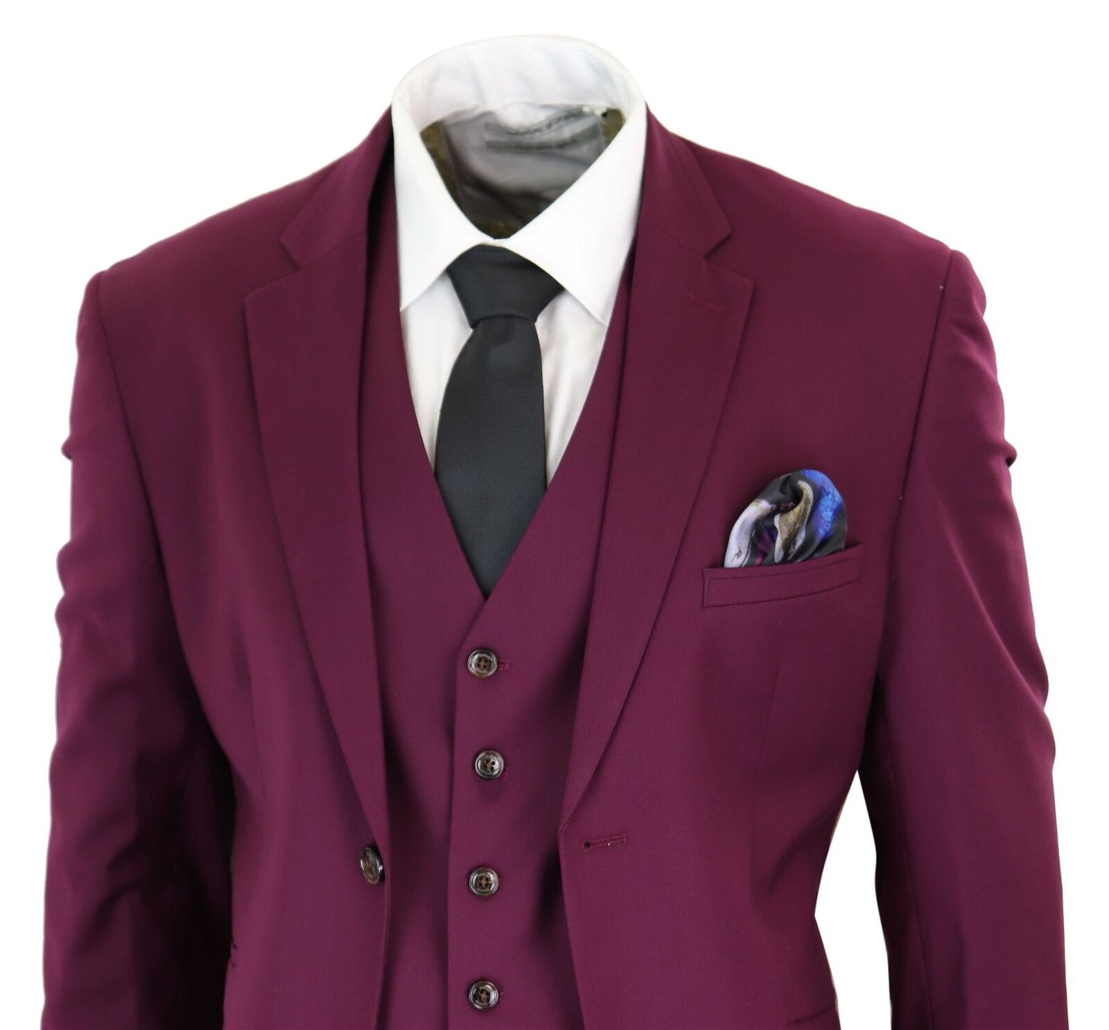 Mens Tailored Fit 3 Piece Wine Burgundy Suit Wedding Prom Party Classic Formal