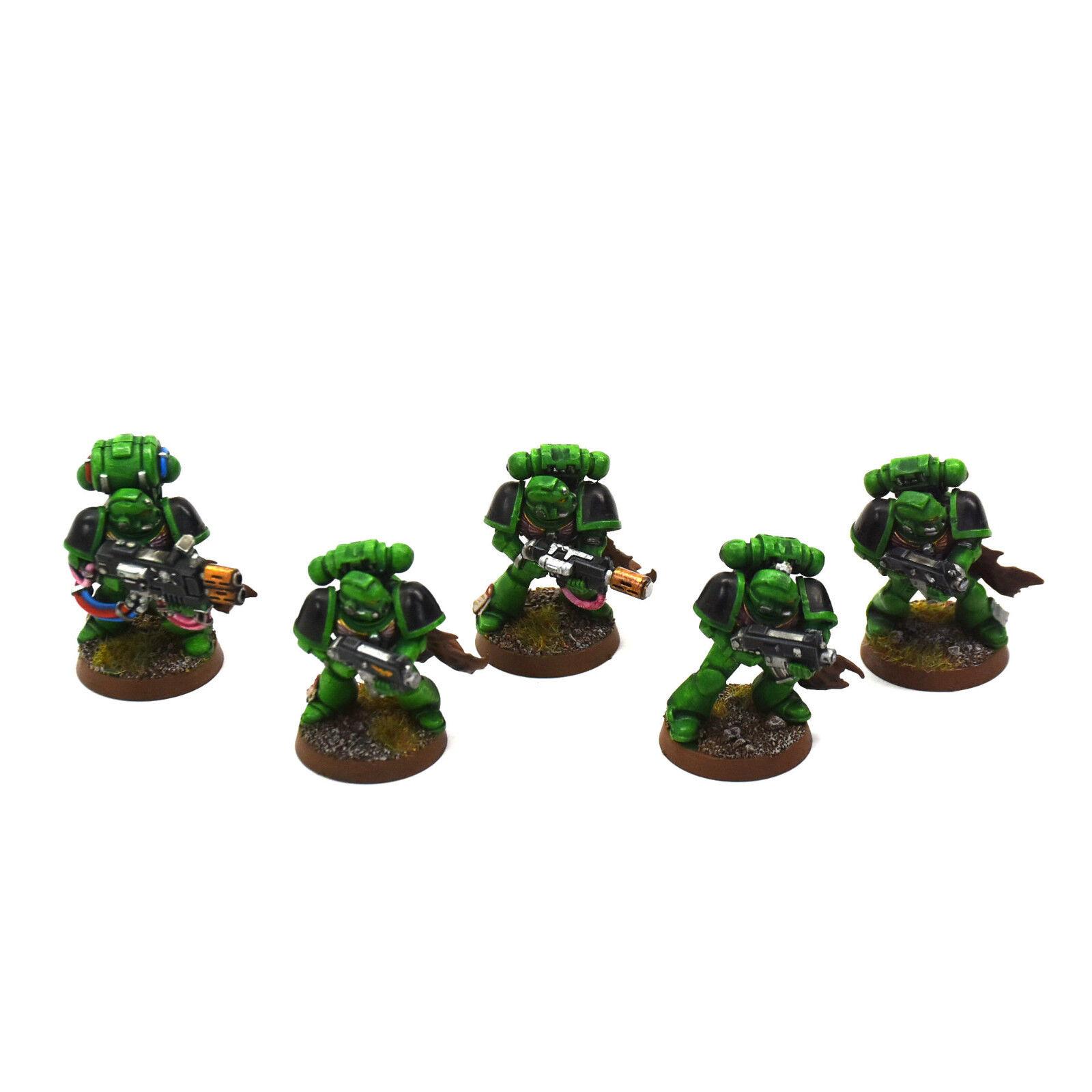 SPANS MARINES 5 taktiska marinsoldater Kongrönerade Salamanders PRO PAINTED Squad 40K