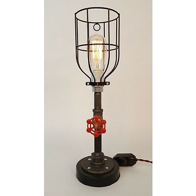 Industrial Pipe Table Lamp with Black Base and Cage Handcrafted Whiskertin
