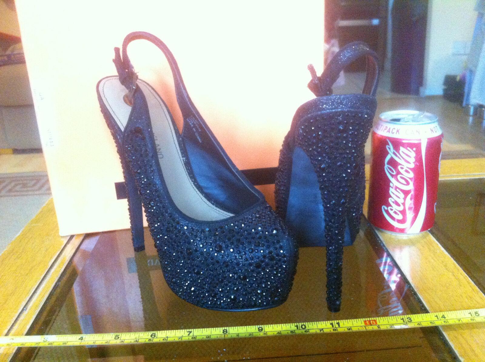 River Island Black High Platform Sole Sling Back High Black Heels Shoes Sparkle Gem Effect 45e835