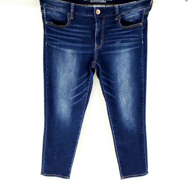 American Eagle Super Stretch Jegging Crop Dark Wash Super Stretch Jeans Sz 12
