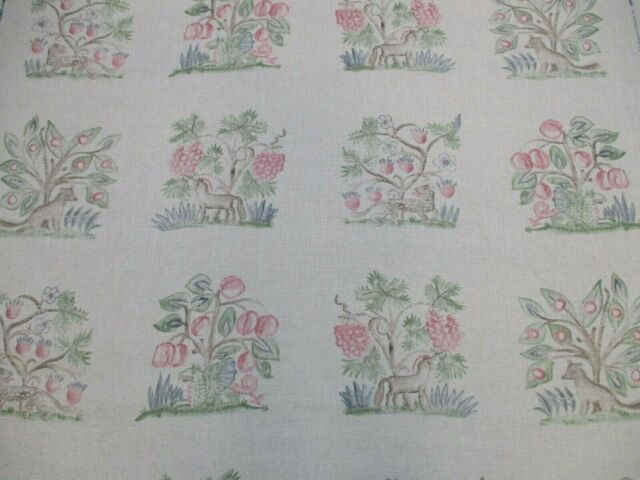 Andrew Martin Curtain Fabric 'HEDGEROW - CERISE' 3.3 METRES (330cm) Linen Blend