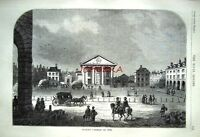 Antique Old London Engraved Print c1878 - 'Covent Garden in 1660'