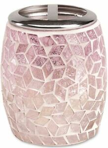 interesting pink bathroom accessories sets | Pink Mosaic Toothbrush Holder Glass Stand Fun Bathroom ...