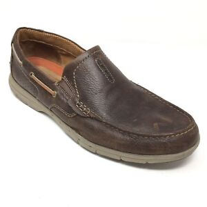 Men-039-s-Clarks-Un-Nautical-Loafers-Boat-Shoes-Size-13M-Brown-Leather-Stretch-Z6