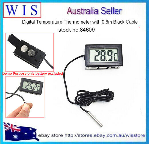 Digital Temperature Thermometer TL8009 Black Cable Length 0.8m for Aquarium84609