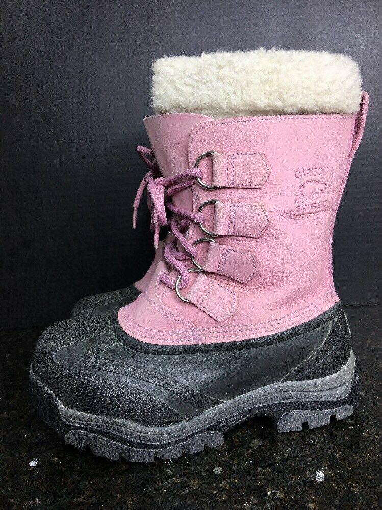 SOREL CARIBOU WOMEN'S PINK  SUEDE WINTER SNOW BOOTS SIZE /US 5