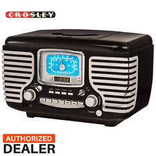 Black Crosley Corsair Tabletop Am//FM Bluetooth Radio with CD Player and Dual Alarm Clock