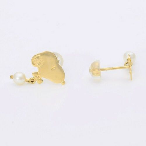 New Peanuts Snoopy Woodstock K10 Yellow Gold Pierced Earrings  from Japan