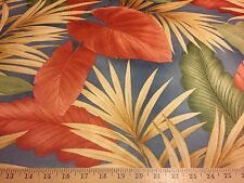"""Blue Tropical Print Big Leaves Faux Suede Microfiber Upholstery Fabric 58"""" W BTY"""