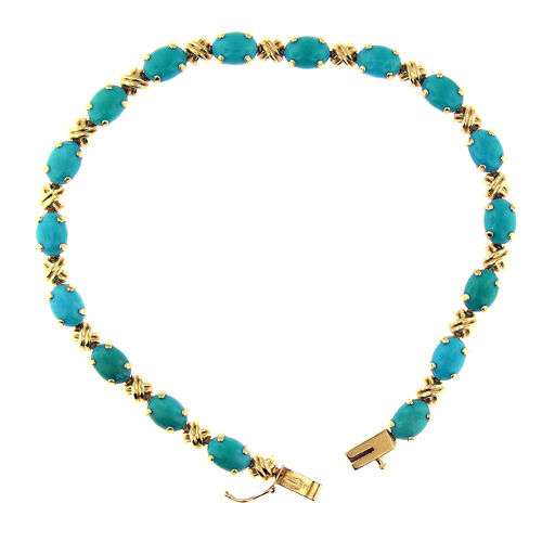 12.75 CT YELLOW gold TURQUOISE BRACELET 14 KT