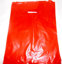 100 12x15 Inch Glossy Red Low Density Plastic Retail Merchandise Bags Withhandles