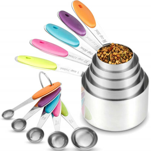 10pcs Stainless Steel Measuring Cups Spoons Kitchen Cooking Baking Tools Set