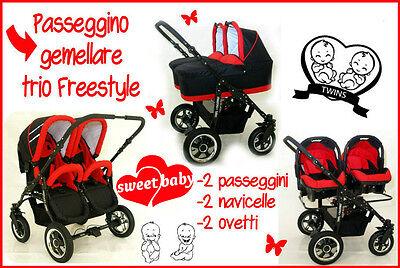 Passeggino Gemellare Freestyle 3in1 Navicelle Ovetti Nero+rosso Trio I Consumatori Prima