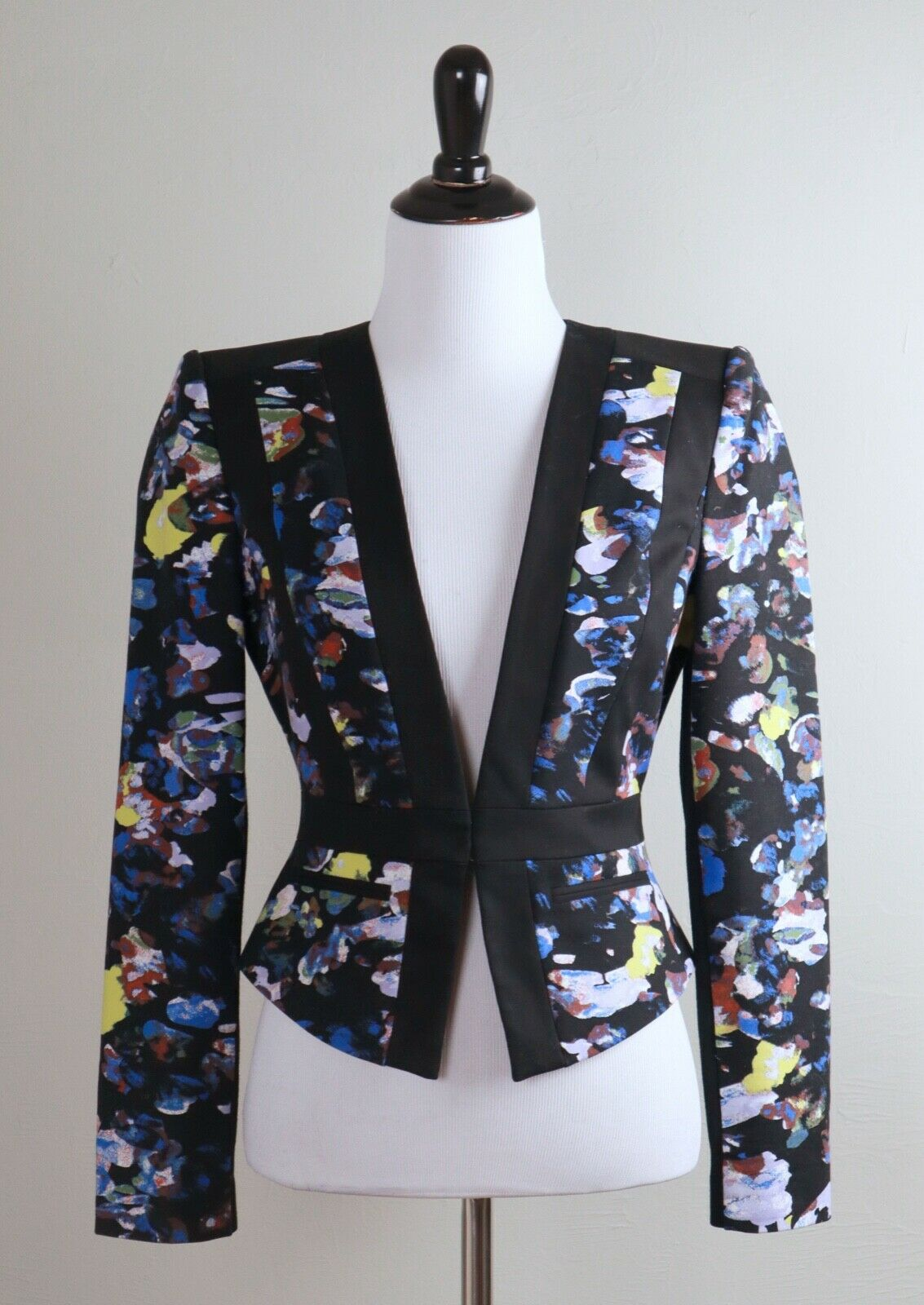 BCBG MAX AZRIA Keeley Structured Print Blocked Jacket Top Size XXS / 2XS
