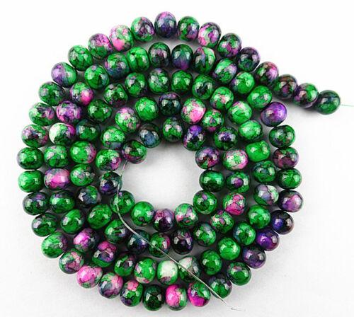 Beautiful green pink 8mm Lampwork loose bead   31 inch BC1134