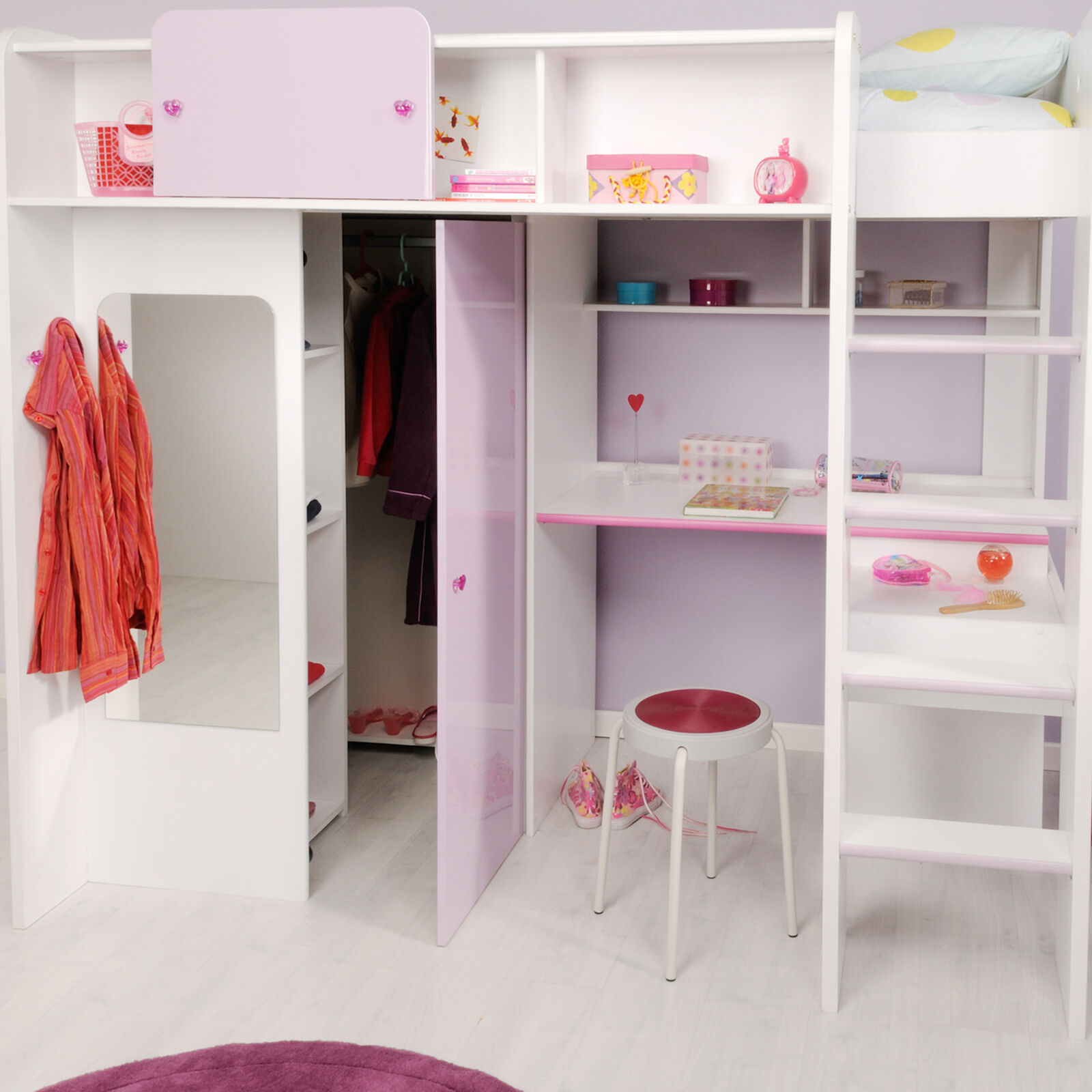 m dchen kombibett kinderbett lila weiss kleiderschrank hochbett mit schreibtisch ebay. Black Bedroom Furniture Sets. Home Design Ideas