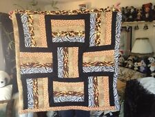 """Handmade Natural Animal Prints Quilt, Approx 38""""x33"""""""