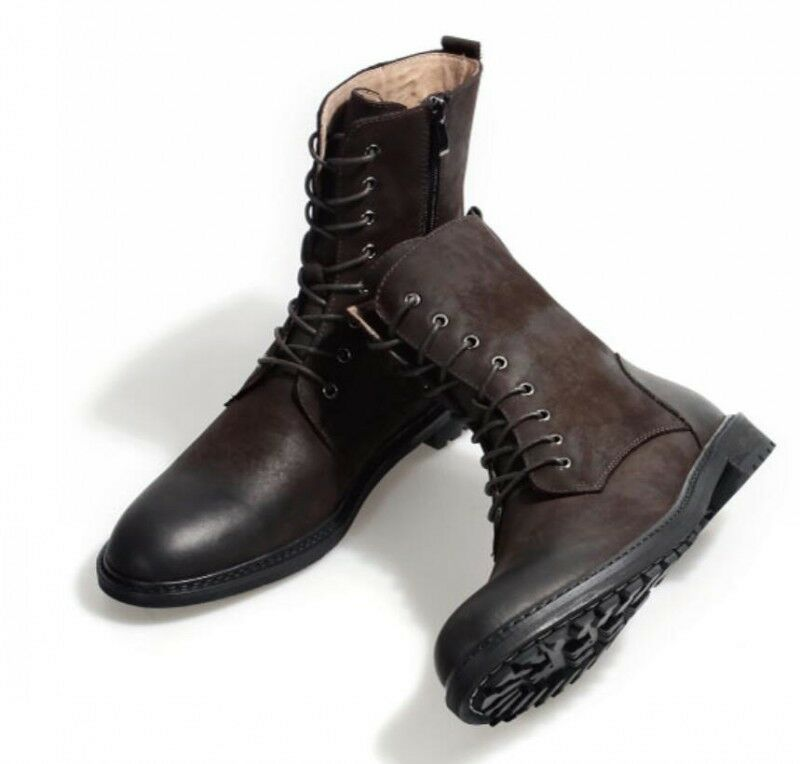 British Women Geunine Leather Military High Top Outdoor Army Green Ankle Boots