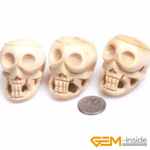 Beads For Halloween Carved Bone Skull Beads Natural Jewelry Making 31x41mm 3 Pcs Ebay