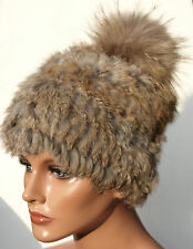 Mütze Pelz Strick Fuchs Bommel Seefuchs Winter Mode Trend Kanin Hase Braun