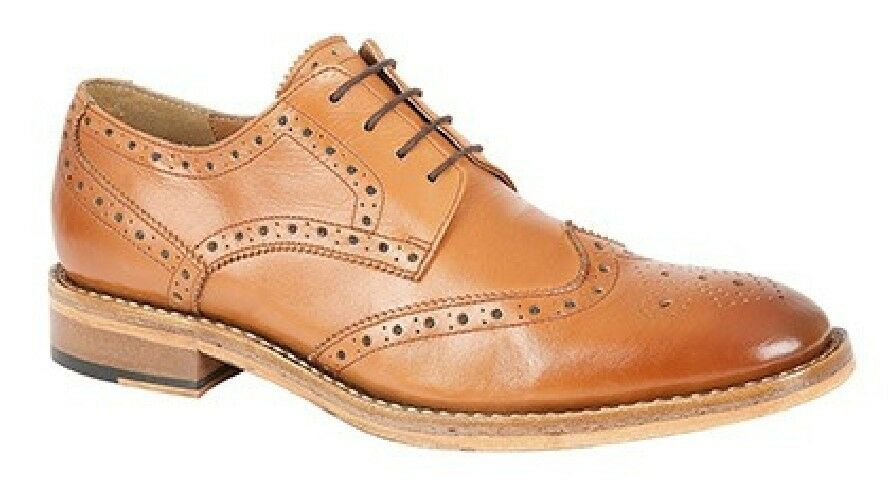 Kensington Mens Wing Cap Brogue Gibson Leather Tan Shoes Tan Leather