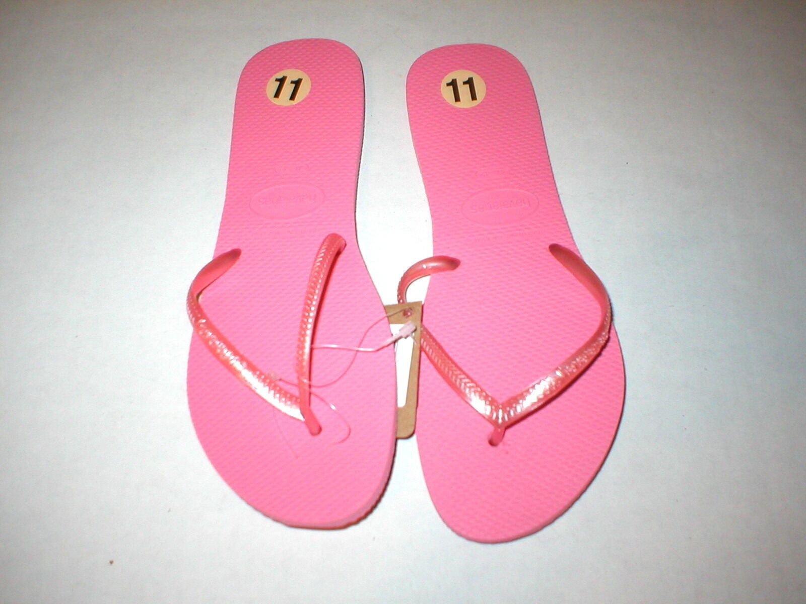 New Womens Authentic Pink NWT Havaianas Flip Flops Pink Authentic Shoes 11 12 Logo Sandals 1830c5