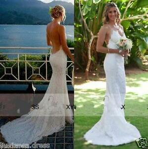 New Spaghetti Mermaid V Neck Open Back Wedding Dress White / Ivory ...