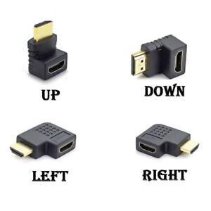Slim 90° HDMI Winkeladapter A Stecker A Buchse schwarz 4K 3D 1.4